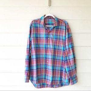 Alan Flusser Pastel Plaid Button Up Shirt Large